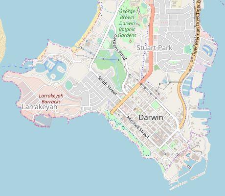Karte Australien Und Umgebung.In Australien Darwin Und Umgebung